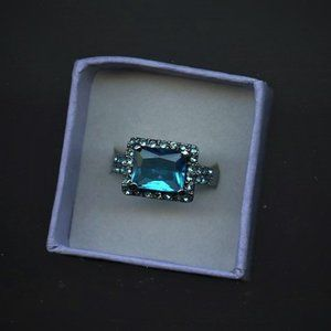 Ring Blue-Topaz-Sapphire, 12x10mm,  Size 8